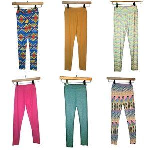 LuLaRoe Girls Leggings Bundle 6 Pairs Tween & L/XL